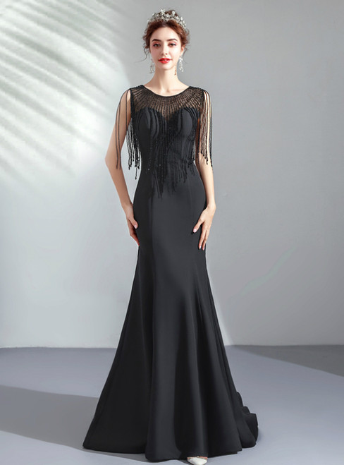 In Stock:Ship in 48 Hours Black Satin Beading Long Prom Dress