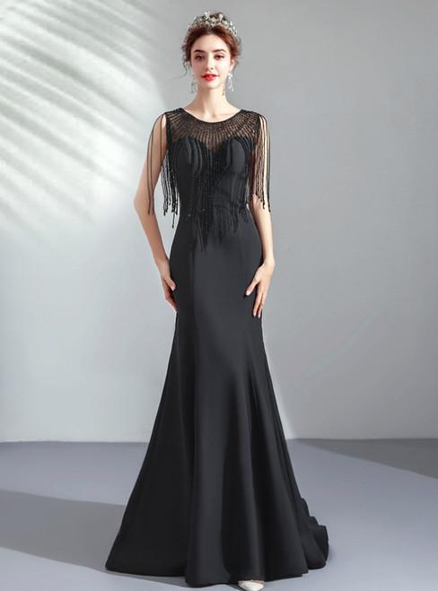 In Stock:Ship in 48 Hours Black Satin Beading Long Prom Dress