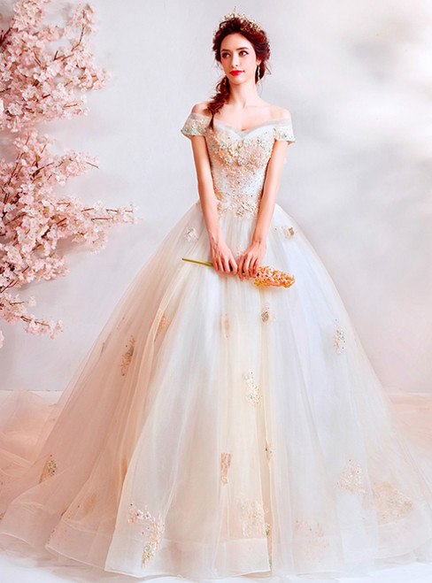 In Stock:Ship in 48 Hours Light Champagne Tulle Off the Shoulder Wedding Dress