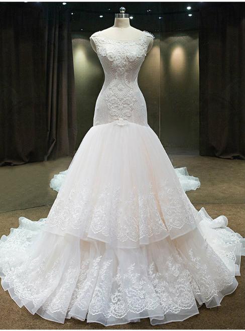 luxury Mermaid Wedding Dress With crystals And Beadings Scoop Organza Ruffers Pears