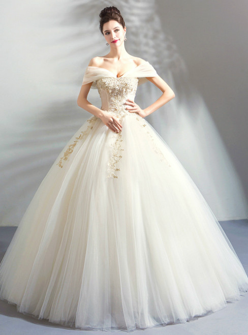 In Stock:Ship in 48 Hours Ivory White Ball Gown Tulle Off the Shoulder Wedding Dress