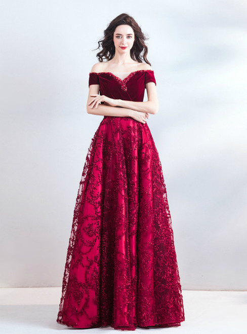 In Stock:Ship in 48 Hours A-Line Burgundy Lace Off the Shoulder Prom Dress