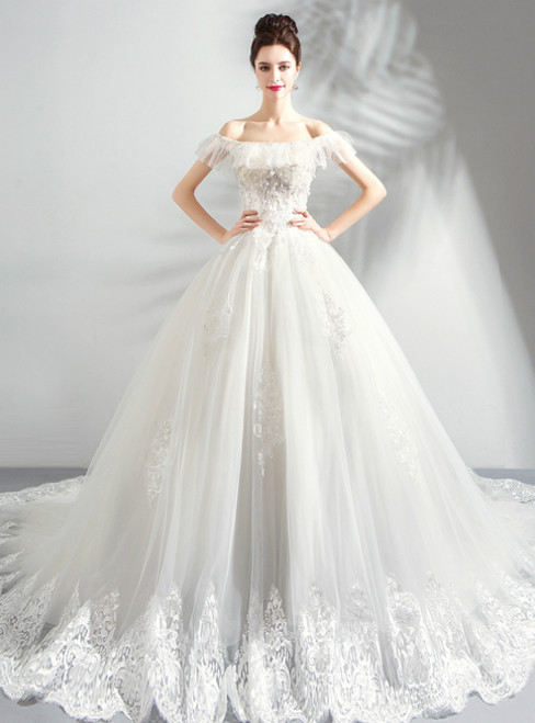 In Stock:Ship in 48 Hours White Ball Gown Tulle Off the Shoulder Wedding Dress