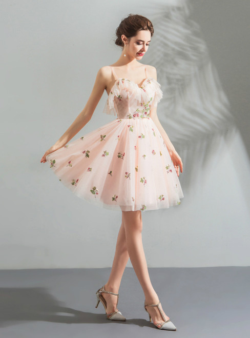 In Stock:Ship in 48 Hours Pink Tulle Spaghetti Straps Short Homecoming Dress