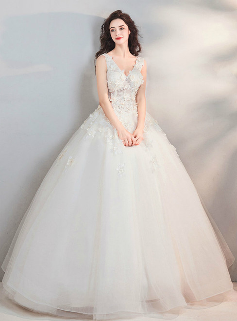 In Stock:Ship in 48 Hours Tulle V-neck Appliques Wedding Dress