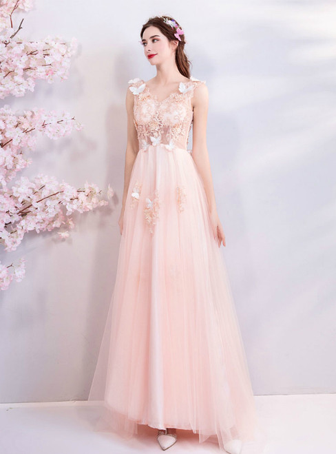 In Stock:Ship in 48 Hours Pink Tulle Appliques V-neck Prom Dress