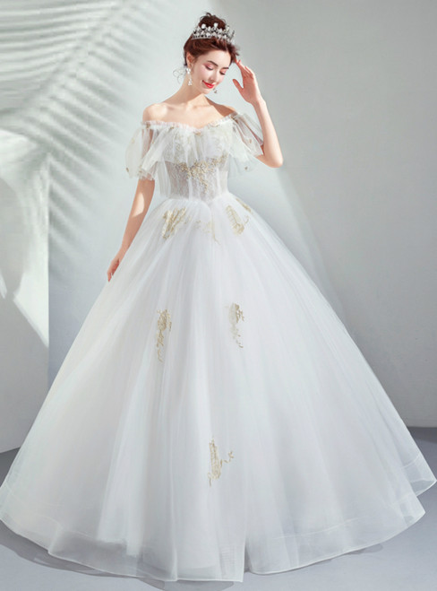 In Stock:Ship in 48 Hours White Tulle Appliques Off the Shoulder Wedding Dress