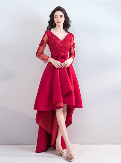 In Stock:Ship in 48 Hours Red Satin V-neck Long Sleeve Backless Prom Dress