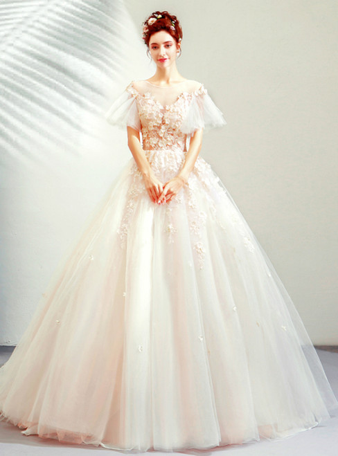 In Stock:Ship in 48 Hours Champagne Pink Tulle Appliques Wedding Dress