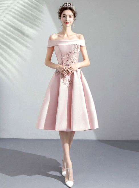 In Stock:Ship in 48 Hours Pink Satin Off the Shoulder Appliques Homecoming Dress