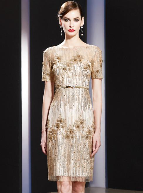 Gold Sheath Sequins Short Sleeve Knee Length Mother Of The Bride Dress