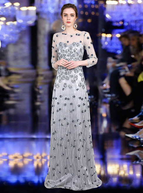 A-Line Silver Gray Tulle Long Sleeve Embroidery Mother Of The Bride Dress