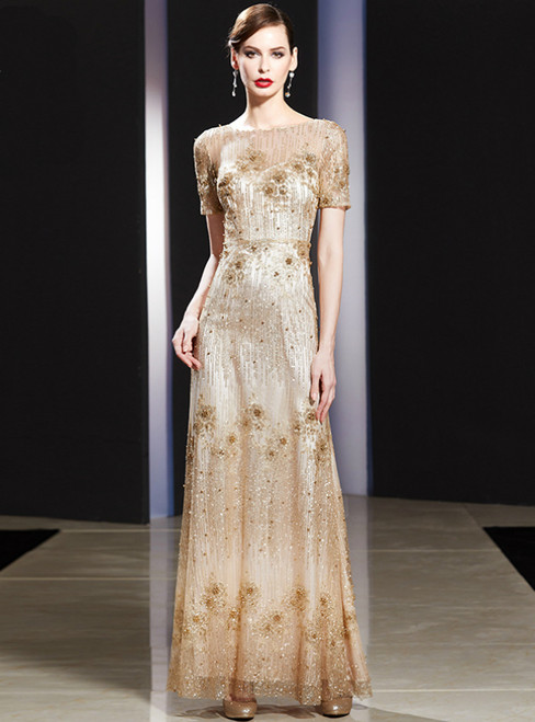 A-Line Gold Sequins Short Sleeve Long Mother Of The Bride Dress