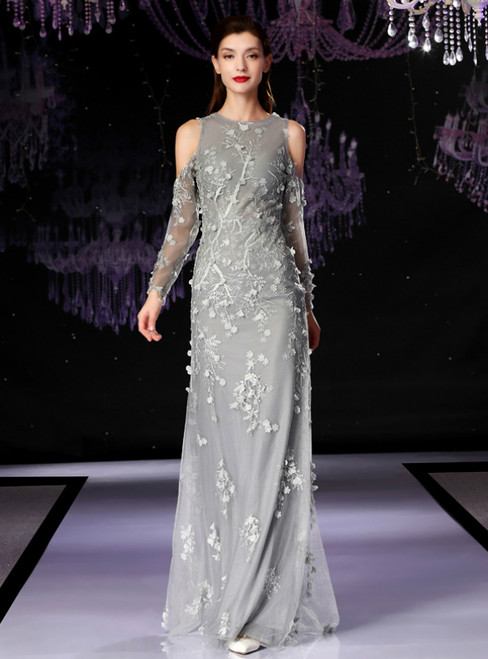 Gray Tulle Appliques Long Sleeve Mother Of The Bride Dress