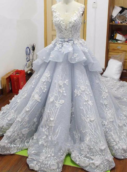 Real Photo Royal Blue Wedding Dress Illusion Luxury Chapel Train Beaded Appliques