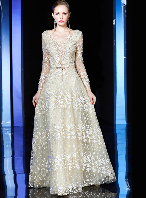 A-Line Champagne Tulle Long Sleeve Appliques Mother Of The Bride Dress