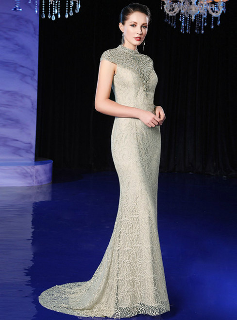 Champagne Lace Mermaid High Neck Cap Sleeve Prom Dress