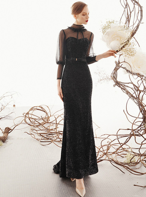 Sexy Black Mermaid High Neck Backless Puff Sleeve Prom Dress