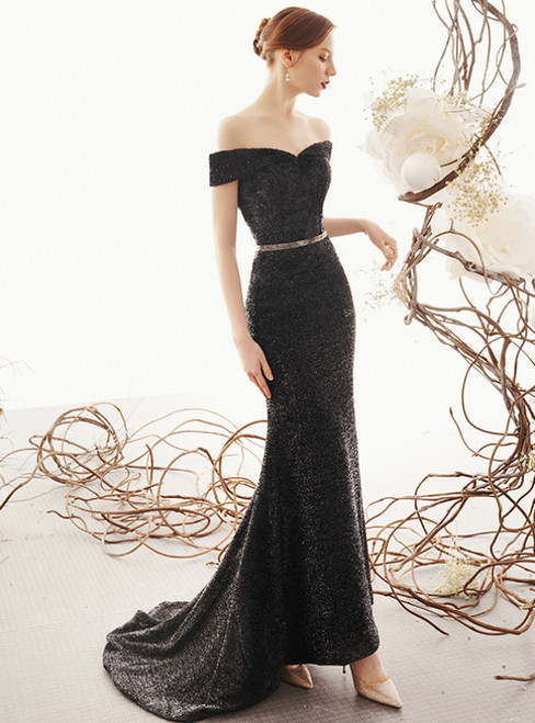 Sexy Black Mermaid Off the Shoulder Long Prom Dress