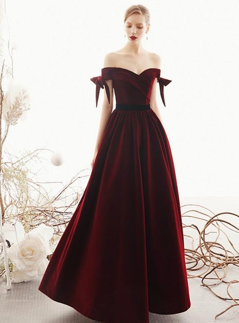A-Line Burgundy Velvet Off the Shoulder Pleast Long Prom Dress