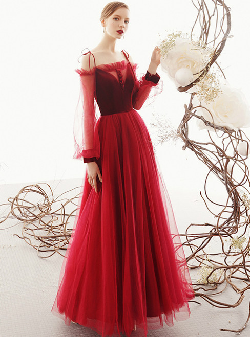 A-Line Wine Red Tulle Spaghetti Straps Long Sleeve Prom Dress