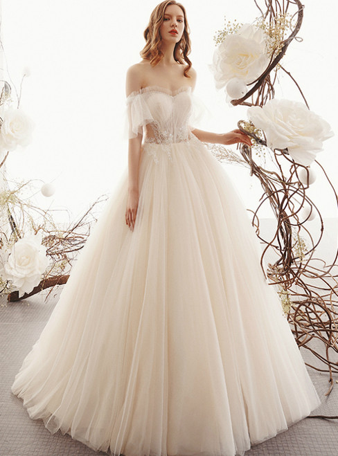 Champagne Tulle Off the Shoulder Beading Wedding Dress
