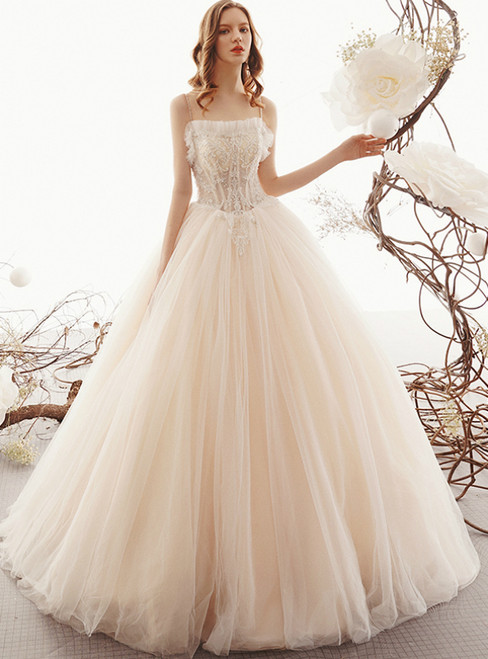 Champagne Ball Gown Tulle Spaghetti Straps Long Wedding Dress