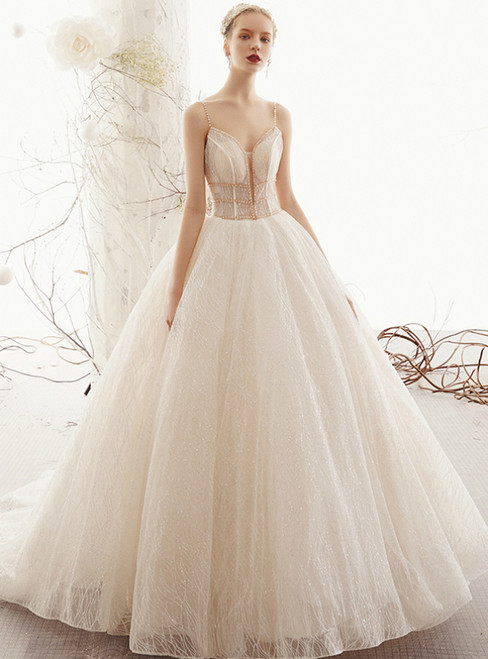 Champagne Ball Gown Tulle Sequins Spaghetti Straps Backless Wedding Dress
