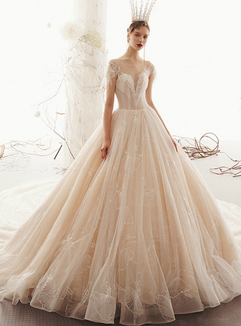 Champagne Tulle Cap Sleeve Backless Wedding Dress With Beading