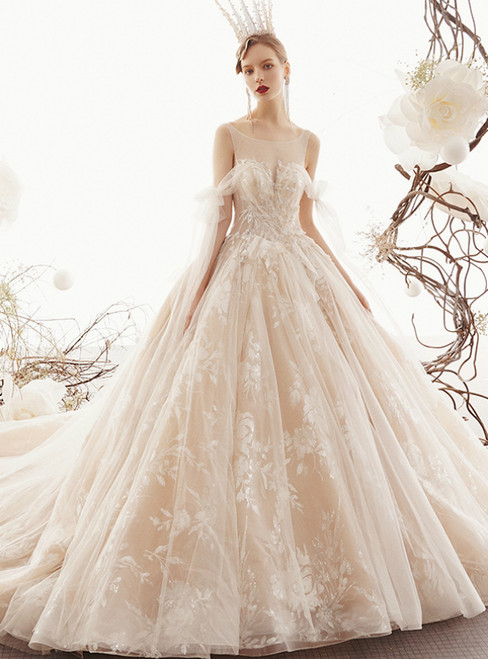 Champagne Ball Gown Tulle Lace Backless Wedding Dress With Beading