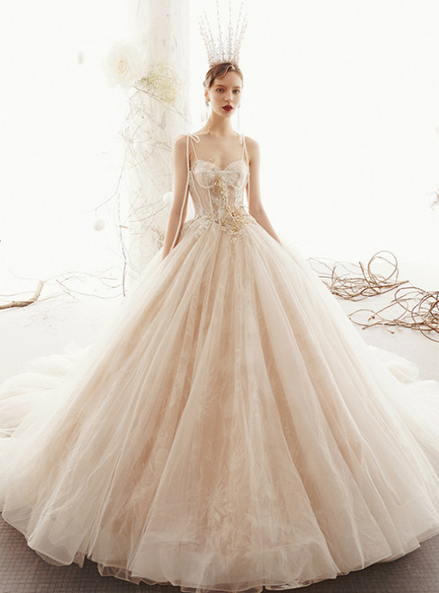 Champagne Ball Gown Tulle Lace Spaghetti Straps Backless Wedding Dress