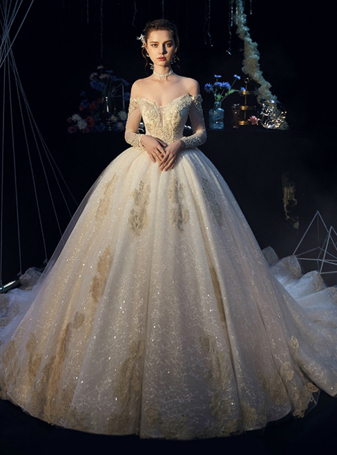 Champagne Ball Gown Tulle Lace Off the Shoulder Lone Sleeve Wedding Dress
