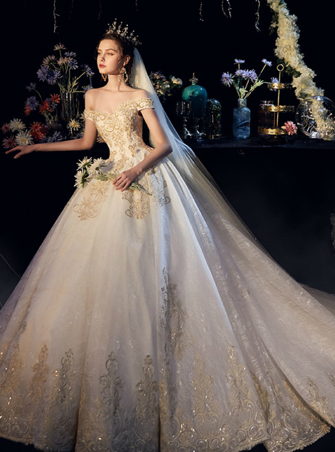 Champagne Tulle Appliques Off the Shoulder Beading Wedding Dress