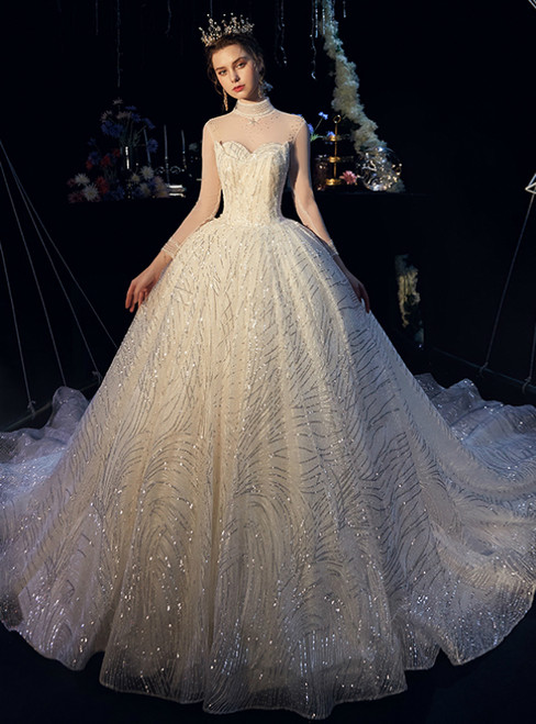 Champagne Ball Gown Tulle Sequins High Neck Backless Wedding Dress With Beading