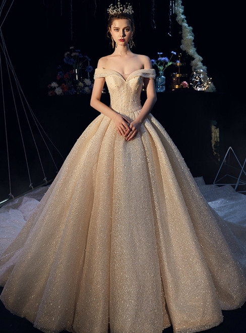 Champagne Tulle Sequins Off the Shoulder Wedding Dress With Beading