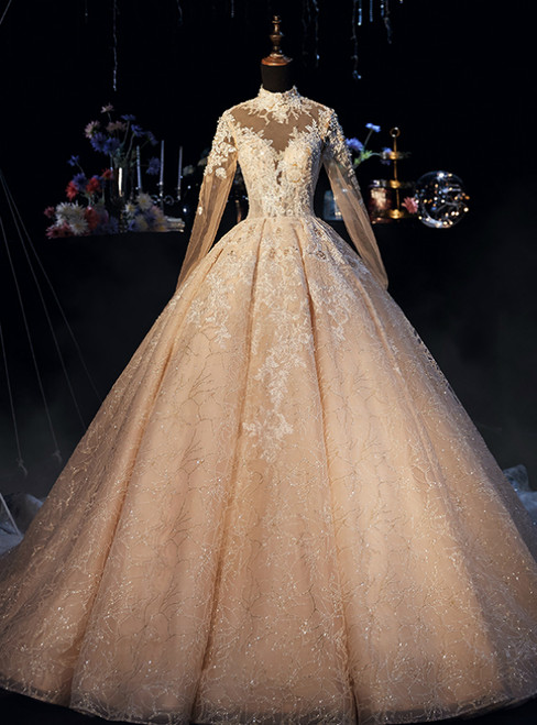 Champagne Ball Gown High Neck Long Sleeve Wedding Dress With Long Train