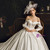 Simple White Ball Gown Satin Off the Shoulder Long Sleeve Wedding Dress