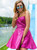 Short Fuchsia Satin Strapless Short Homecoming Dress With Beading