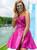 Short Fuchsia Satin Strapless Short Homecoming Dress With Beading
