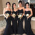 Strapless Black Mermaid Long Bridesmaid Dress with Gold Belt
