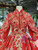 Red Ball Gown Embroidery Appliques High Neck Luxury Wedding Dress