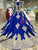 Long Sleeve Royal Blue Tulle Lace Appliques Luxury Wedding Dress