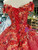 Red Ball Gown Sequins Off the Shoulder Appliques Luxury Wedding Dress With Beading