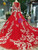 Red Ball Gown Tulle White Appliques Long Sleeve Luxury Wedding Dress