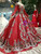 Red Ball Gown Sequins Off the Shoulder Long Sleeve Embroidery Appliques Luxury Wedding Dress With Crystal
