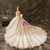 Champagne Tulle Appliques Open Back Wedding Dress With Train