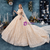 Champagne Gold Tulle Sequins Off the Shoulder Wedding Dress With Train