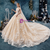 Champagne Tulle Appliques High Neck Cap Sleeve Open Back Wedding Dress With Beading
