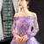 Purple Tulle Sequins Off the Shoulder Long Sleeve Prom Formal Dress