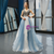 Gray Blue Tulle V-neck Backless Prom Dress With Beading